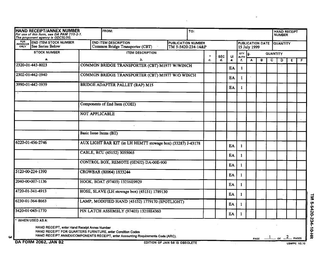 HAND RECEIPT/ANNEX NUMBER - TM-5-5420-234-10-HR_5